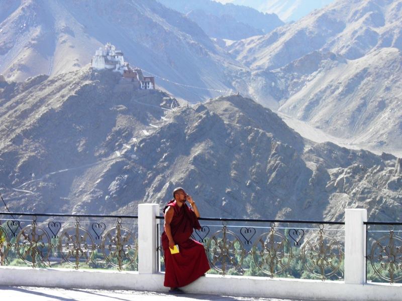 monk at shanti stupa
