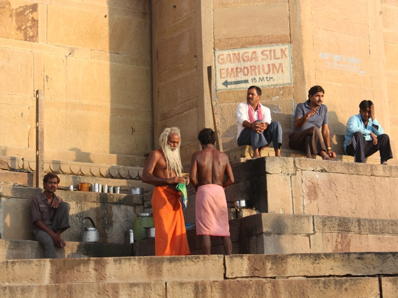 Drinking traditional Chai on ghats in Varanasi