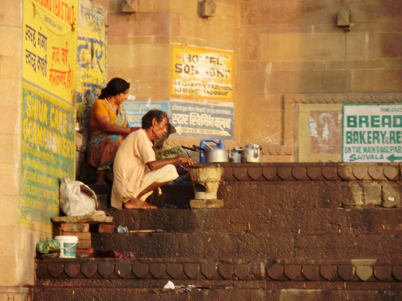 Drinking traditional Chai on ghats in Varanasi