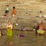 What can you see in Varanasi near Ganges River?