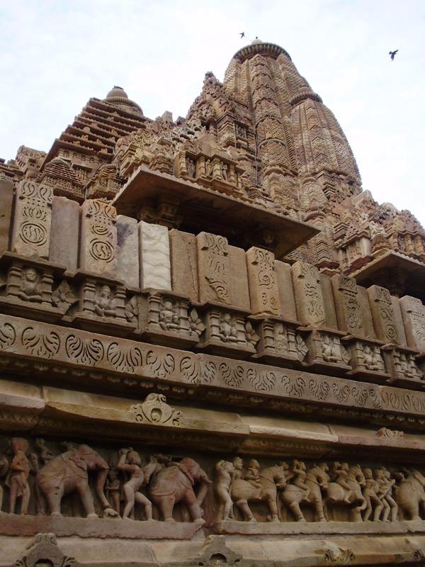 Khajuraho temples with erotic kamasutra carvings path is